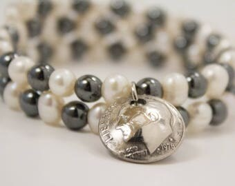 Pearl, hematite and dime unique memory wire bracelet jewelry for her birthday or Christmas handmade personalized year