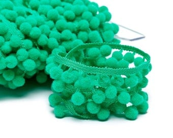 Stripe with 18mm Green PomPoms
