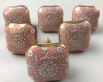 Stunning Set of 6 X Ornate Pink Patterned SQUARE knobs edged in Gold colour