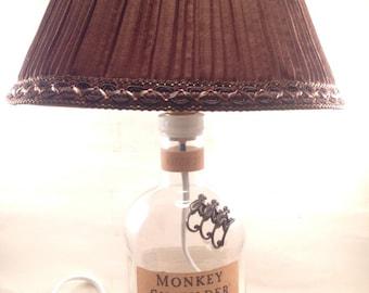 Recycled Monkey Shoulder whisky bottle lamp