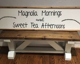 Magnolia Mornings and Sweet Tea Afternoons Wooden Sign, farmhouse decor, wall signs, wall decor,  vintage decor, rustic decor, home decor