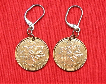 1993 earrings made with real under Canadians from 1993