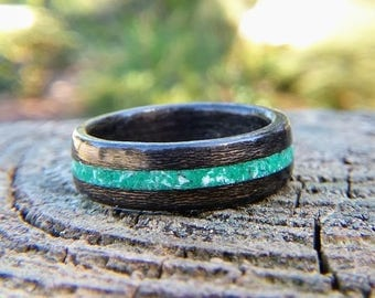 Black Cherry Wood Ring with Crushed Malachite and Mother of Pearl Inlay - Bentwood Wedding Band - Sustainable Wedding Ring