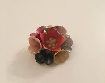 Small plastic flower vintage brooch