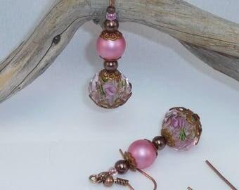 """Jewelry earrings copper """"old rose"""""""