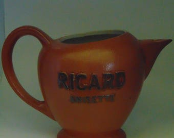 "Brown ""RICARD ANISETTE"" ceramic pitcher"