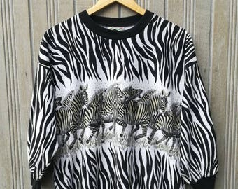 Vintage Zebra Sweatshirt pullover jumper sweater