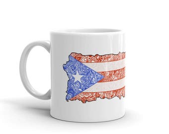 Puerto Rico Mug, Puerto Rican Flag Mug, Puerto Rico Souvenir, Puerto Rico Coffee Cup, Puerto Rican Flag, Boricua Gift, Puerto Rico Gift