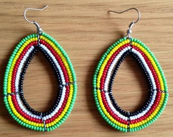 African Maasai Beaded Dangle Earrings   Tribal earrings   Ethnic jewelry   Round Earrings   African Jewelry   Gift for Her