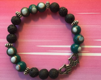 Hamsa Lava Rock bracelet