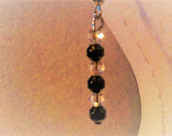 Black hematite with three Swarovsksi crystals