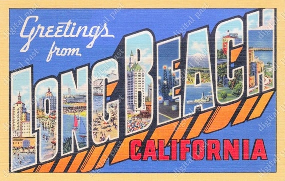 Greetings from long beach california vintage postcard clipart greetings from long beach california vintage postcard clipart image instant download retro large letter postcard printable postcard from digitalpast m4hsunfo Gallery