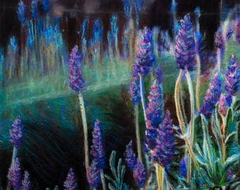 Lavender Flower Garden, Giclee Print of an Original Pastel and Acrylic Painting