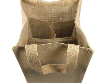 Burlap Wine Tote with dividers, holds four bottles of wine or sparkling grape juice, Wine Tote Bag, Wine Carrier, Burlap Wine Crarier