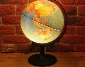 Illuminated globe, Vintage Cram's Globe, Vintage light up globe, Globe Lamp, Globe Light, Vintage World Globe, Vintage Globe, glowing globe