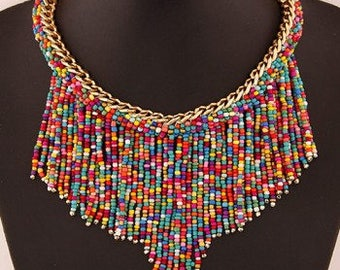Maasai Beaded Necklace with gold