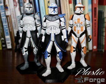 Clone Trooper Figures (Rex, Cody, Wolffe) - The Clone Wars - Star Wars - 3D Printed