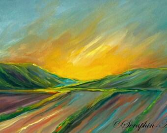 Sunset Landscape Original Gouache Painting
