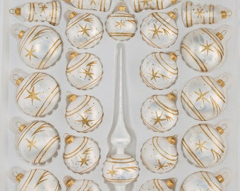 "Navidacio 39pcs Christmas Balls Ornaments Set ""Ice White Gold"" Comet New"