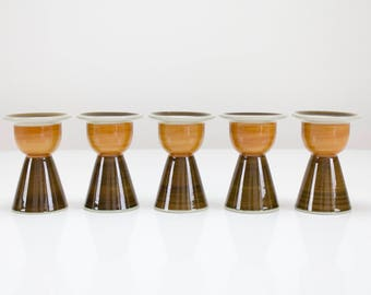 5 Vintage Rörstrand Annika egg holders / egg cups, Marianne Westman, Sweden, Scandinavian, Retro, 1970s