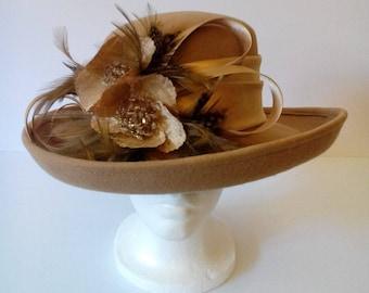 Wool Felt Hat W/ Feather & Rhimestone
