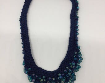Beaded Necklace Hand Knitted - various colour combinations