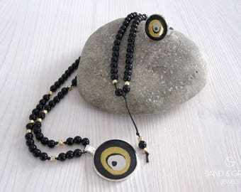 Evil eye jewelry set in Black and Gold, nazar style enamel ring, resin ring, yoga meditation mala beaded necklace with hand painted pendant