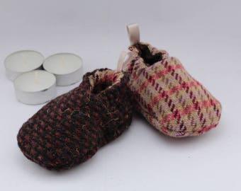 Stay on baby shoes - reversible tweed tartan