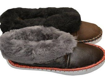 Man slippers  natural leather slippers man shoes leather shoes  home slippers fur slippers wool boots christmas boyfriend father  gift