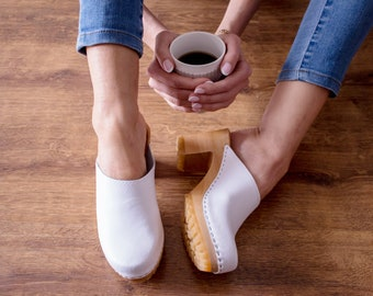Leather clogs white sandals handmade Sandals Wooden clogs swedish clogs Handmade clogs sandals Gift for women mules hihg heel wood clog