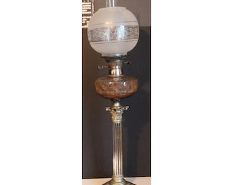 A Quality Victorian Silver Plated Corinthian Column Oil Lamp with Cut & Etched Shade