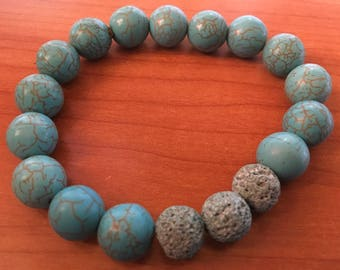 Turquoise Lava Bead Bracelet