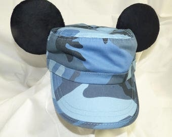 Blue Camo Cadet hat with Mickey ears