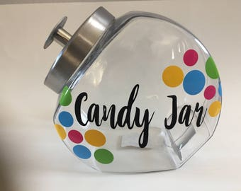 Candy jar, glass jar, candy canister, sweets container.