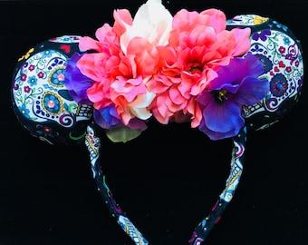 Coco Mickey Ears Minnie Ears Sugar Skulls Dia De Los Muertos
