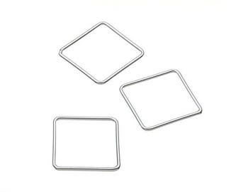 Spacer flat square - 15 mm - Sterling Silver 925