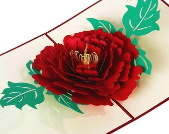 3d Pop Up Handmade Rose Love Card For Valentine's Day Card + OR  All Occasions, Pink & Red