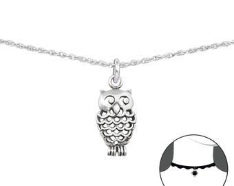 Silver Cut-out Owl Choker
