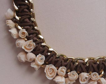 Clay Jewelery Necklace Beige necklace Statement necklace Polymer Clay Fimo Style jewelery
