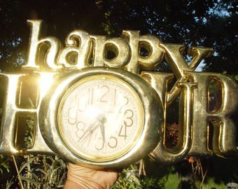 Vintage Chrome Gold 1978 HAPPY HOUR Quartz Clock From Burwood Word Clock Series