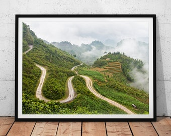 Vietnam Mountains Photo // Asia Home Decor, Photography Print, Landscape Photo, Asian Wall Art, Nature Photography, Misty Mountain View