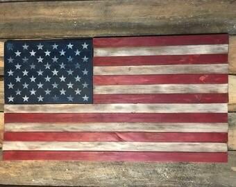 Handmade Old Glory Tattered Wood American Flag