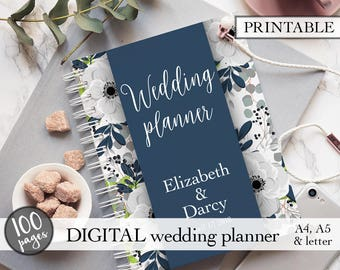 Wedding planner printable, Wedding planning book, Printable wedding planner, Wedding binder, Engagement gift, PDF download, Bridal gift idea