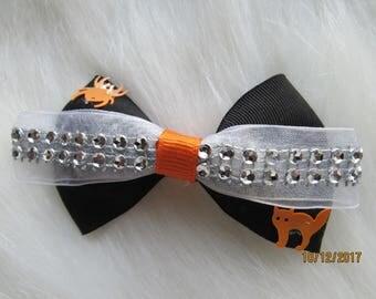 Black orange white halloween girl bow