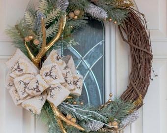 Gold wreath, Christmas wreath, winter wreath, rustic wreath, grapevine wreath, antler wreath