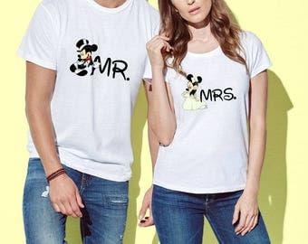 Disney Couple T-Shirts Mr. Mrs. Mickey Mouse Minnie Mouse Shirt Men's Women's T-Shirt