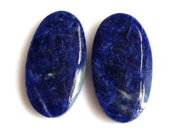 Sodolite Oval Pair Cabochon Size-27x14 MM Natural Sodolite AAA,Quality,Loose Gemstone, Smooth Cabochons.