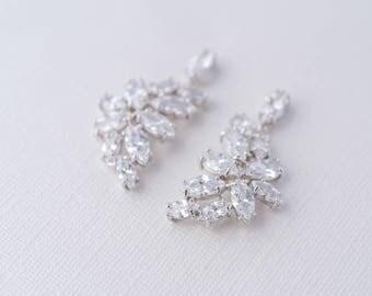 Everleigh Cubic Zirconia Earrings, Silver CZ Earrings, Bridal Earrings, Wedding Jewellery, Bride Crystal Earrings, Statement Earrings Bridal