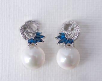 Pearl & Royal Blue Accent Cubic Zirconia Earrings, CZ Bridal Earrings, Wedding Jewellery, Bridesmaid Jewelry, Pearl Earrings, Crystal