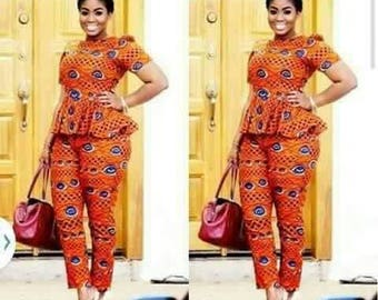 African print top and Pants /African clothing/ African dress